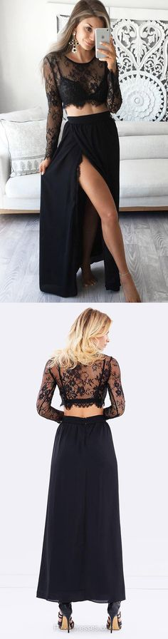 Black Prom Dresses Long, 2018 Formal Dresses Long Sleeve, Two Piece Party Dresses A-line, Lace Evening Dresses Scoop Neck Chiffon, Cheap Pageant Dresses Ankle-length Split Front