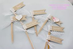 Lace and Burlap Cupcake Flags with choice of ribbon- Set of 12