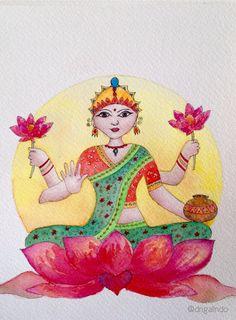Lakshmi by Adriana Galindo aquarela/watercolor, 18,5 x13,5 cm commission: drigalindo1@gmail.com