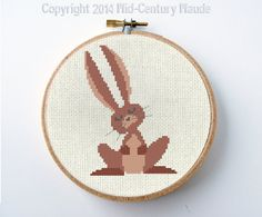 Bunny Rabbit Cross Stitch Pattern Digital von MidCenturyMaude