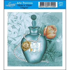 Papel para Arte Francesa Litoarte 10 x 10 cm - Modelo AFX-377 Perfume Verde Água - CasaDaArte