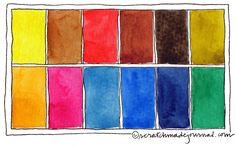 12-color watercolor palette ideas plus download a mixing chart of all 12 colors - scratchmadejournal.com