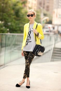 The right Edge- Yellow Blazor, Camo Pants, black suede pointed heels