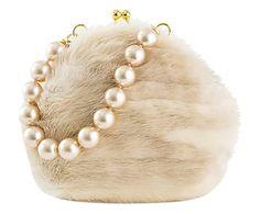 Borsetta a mano in visone bianco con manico in perle sintetiche, 2x16x5 cm Vintage Purses, Vintage Handbags, Handbags Michael Kors, Purses And Handbags, Handbag Accessories, Fashion Accessories, Novelty Bags, Fur Bag, Unique Purses