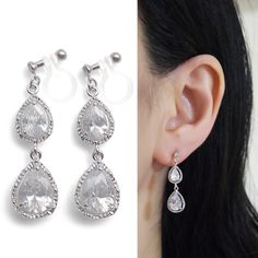 Diamond look sparkle filled cubic zirconia invisible clip on earrings by MiyabiGrace Perfect for your wedding and elegant occasions.These invisible clip on earrings are made from resin and comfortable to wear. You can wear them for straight 8 hours. And moreover, earring backs are clear, so they are look like pierced earrings. These magic like invisible clip on earrings are available at MiyabiGrace.  夾耳環, 夾式耳環, イヤリング, Non Pierced Earrings