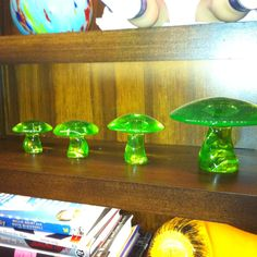 Another Clubhouse classic - vintage Viking glass mushrooms in Vaseline green. (They came in other colors too. You can still find 'em if you look real hard. My Glass, Glass Art, Vintage Dishware, Glass Mushrooms, Viking Glass, Vaseline Glass, Glass Company, Glass Collection, Antique Glass