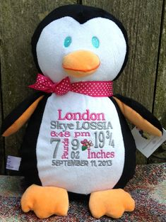 Personalized Baby Gift Monogrammed Baby Gift Penguin  PERSONALIZED by World Class Embroidery