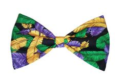 Mardi Gras Bow Tie Feather Dog Bow Cat by SunFlowerFreckles