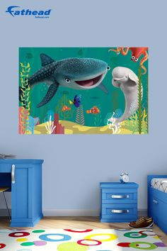 This Finding Dory wall art decor is removable and reusable, so you can move it without damaging your walls. Show your fandom For Real with a Finding Dory movie Fathead wall mural. SHOP Disney wall art at  http://www.fathead.com/disney/finding-nemo/finding-dory-wall-mural/