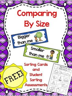 """Pocket chart sorting cards (in color and black/white) to use when comparing size of items in relation to a child.  """"Bigger than me"""" or """"Smaller than me"""" plus an ordering activity from smallest to biggest.  Assessment activities included in cut/paste form to use at end of unit."""