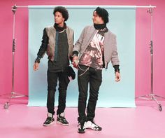 Les Twins messing around on the set of Lips are Moving with Megan Trainer