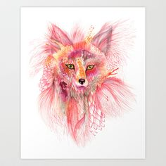 """Foxy Fur"" updated colors Art Print by ola liola - $17.00"
