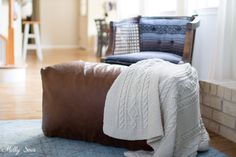 DIY Leather Pouf Tutorial - make a leather ottoman with this sewing tutorial from Melly Sews Apartment Furniture, New Furniture, Foot Of Bed, Foot Rest, Bean Bag Insert, Leather Pouf Ottoman, Ottoman Cover, Muslin Fabric, Sewing Leather