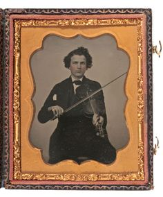 Sixth Plate Ambrotype of Young Man with his Violin