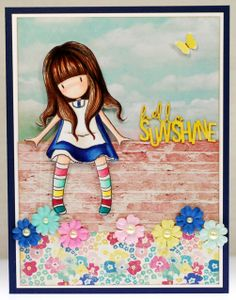 """""""Hello Sunshine"""" Gorjuss Girl (A thousand sheets of paper) Santoro London, Tiddly Inks, Little Doll, Copics, Paper Cards, Cute Cards, Homemade Cards, Clipart, Cute Drawings"""