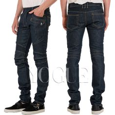 Men Skinny Raw Denim Jeans Moto Biker Pants Slim Straight Casual Trousers