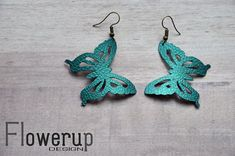 Lightweight faux leather peacock butterfly earrings gift for