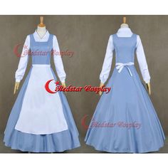Beauty and the Beast Belle Blue Dress Made Cosplay Costume ($58) ❤ liked on Polyvore featuring costumes, dresses, cosplay, black, women's clothing, cosplay halloween costumes, lady costumes, womens belle costume, lady halloween costumes and belle costume