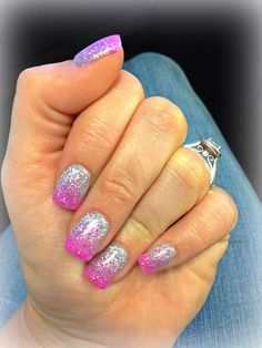 Pink and silver glitter fade nails