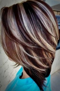 Tips for Choosing Hair Color – Autumn Winter 2019 – Haircut Styles and Hairstyles - Fall Hair Colors Brunette Hair With Highlights, Hair Highlights And Lowlights, Brunette Color, Hair Color Highlights, Silver Highlights, Caramel Highlights, Chunky Highlights, Highlights 2017, Blonde Hair
