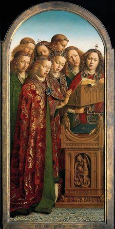 Lam Gods, Jan Van Eyck : Het is duidelijk te zien dat de engelen niet allemaal hetzelfde zingen.