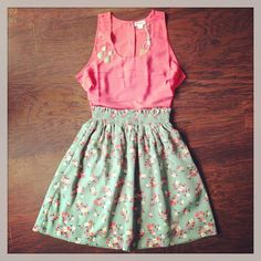 Floral Skirt + Ruffled Top