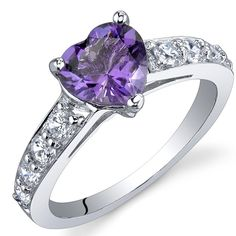 Dazzling Love 1.00 Carats Amethyst Ring in Sterling Silver Rhodium Nickel Finish Sizes 5 to 9 -- Read more at the image link. (This is an affiliate link) #Rings