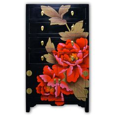 "37"" Chinese Black Lacquer Dresser with Flower and Leaf Hand Painting with 2 Doors and 5 Drawers"