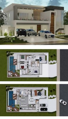 4 Bedrooms Home Design is part of House plans - This is another great home option with two decks for large plots In the lower floor stand out the spacious living areas, such as TV room, kitchen Duplex House Plans, Bungalow House Design, House Front Design, Bedroom House Plans, Dream House Plans, Modern House Design, Duplex Design, Sims House Plans, House Layout Plans
