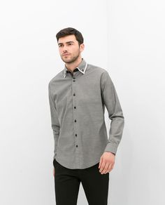 CONTRASTING DOUBLE COLLAR SHIRT from Zara. Pretty awesome
