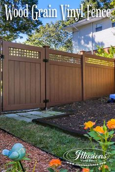 Rosewood PVC Vinyl Wood Grain Privacy Gate and Fencing Panels From Illusions Vinyl Fence Add Style and Beauty to Your Backyard Landscaping and Outdoor Living Space. #fence #ideas #homedecor #backyardideas