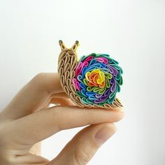Snail brooch multicolor snail brooch polymer clay snail quilled brooch quilled…