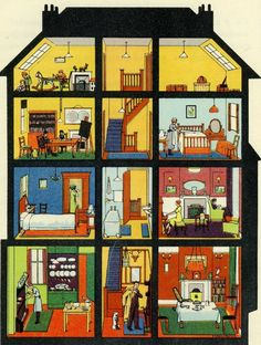 House interior illustration. Laminate and then can be used to label.
