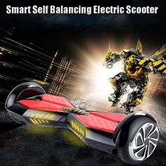 8.0 inch Smart Self Balancing Scooter Electric Hoverboard with LED Bluetooth Speakers& Remote Control White