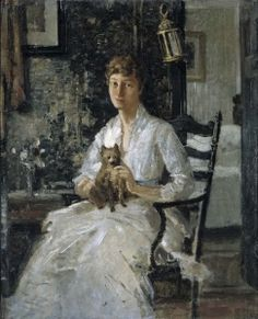 Portrait of a Lady with a Dog - Julian Alden Weir