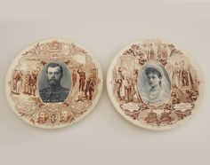 Nicolas II Empereur de Russie et Alexandra Fedeorowna Impératrice de Russie French Sarreguemines U&C Ceramic Wall Plates 1893's de la boutique LaMachineaBrocantes sur Etsy