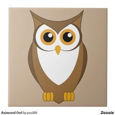 Animated Owl Ceramic Tile