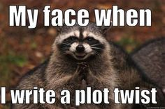 May 2018: My face when I write a plot twist, P.S. Literary Agency, book writer's novelists, Bad Pun Raccoons, Raccoons Ry-Ccoons, Evil plotting raccoon memes