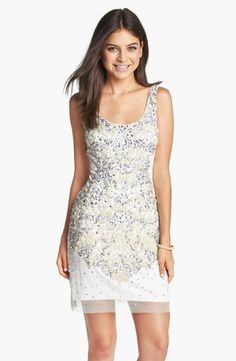 Adrianna Papell Embellished Mesh Tank Dress...bridal shower/ bachelorette party