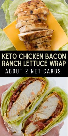 Loaded with protein and containing about 2 net carbs per serving, this Chicken Bacon Ranch Lettuce Wrap is the ideal low carb, keto-friendly lunch option. #keto #lowcarb #glutenfree Slow Cooker Recipes, Beef Recipes, Cooking Recipes, Healthy Recipes, Skinny Recipes, Yummy Recipes, Yummy Food, Foil Baked Chicken, Chicken Skillet Recipes
