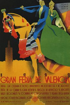 Gran Feria de Valencia :: Fashion Couple Horse #Spain #Travel #Tourism #Vintage #Poster