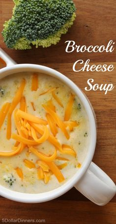 Delicious homemade recipe for Broccoli Cheese Soup ~ part of our 31 Days of Chili, Soups & Stews | 5DollarDinners.com