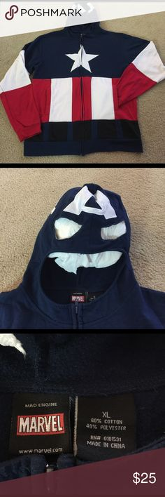 REDUCEDMarvel Captain America hoodie-to Comic con? Here is a nice Marvel hoodie just for the fun of it! Did you get your comic con badges yesterday? Great item to wear for the cool San Diego nights. XL unisex item fits most! Get your nerd on and have fun😀🇱🇷🇱🇷🇱🇷 Marvel Shirts Sweatshirts & Hoodies