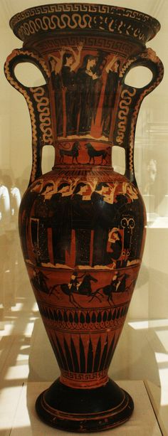 Terracotta Loutrophoros (ceremonial vase for water), Greek, Attic, black-figured, late 6th century B.C., Metropolitan Museum of Art, New York, 2009. This kind of vases were used to fetch water for the bridal bath and in certain funerary ceremonies. This one was made without a bottom (which indicated that it was used in a funerary ceremony) so the offerings poured into it could reach the dead under the ground.