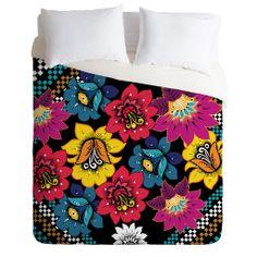 Juliana Curi Black Flower Duvet Cover | DENY Designs Home Accessories
