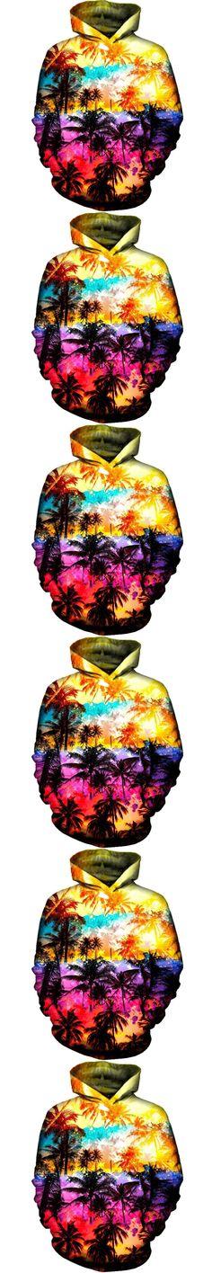 2017 NEW FASHION MEN WOMEN Coconut trees sunlight 3D print Hoodie Sweatshirts Pullovers Autumn Tracksuit Winter Loose Thin Hoody
