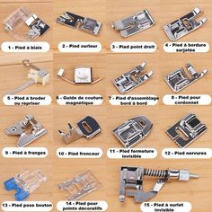 lot de 15 pieds standards pour machine a coudre – Life ideas Sewing Tools, Sewing Hacks, Sewing Tutorials, Sewing Patterns, Sewing Notions, Sewing Machine Projects, Sewing Projects For Beginners, Coin Couture, Couture Bags