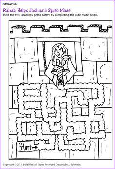 Rahab Helps Joshua's Spies (Maze) - Kids Korner - BibleWise create a real live rope maze Bible Story Crafts, Bible School Crafts, Bible Crafts For Kids, Bible Lessons For Kids, Sunday School Crafts, Kids Bible, Children's Bible, Bible Stories, Joshua Bible