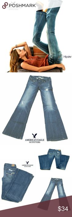 """AEO STRETCH AE HIPSTER FLARE JEANS AEO STRETCH AE HIPSTER FLARE JEANS Pre-Loved  RN# 54485 CA# 83873 SIZE  4 Long 5 Pocket Jean's, Fly Front Closing, Whiskering & Fading Approx Meas; Waist   14"""" Inseam   33 1/2"""" Rise   8"""" Leg Opening   10"""" Pls See All Pics. Ask ? If Not Sure American Eagle Outfitters Jeans Flare & Wide Leg"""