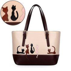 Cute Cat Rabbit Animal Print Sweet Women Handbag Causal Large Capacity Zipper Cat Handbags Shoulder Bag